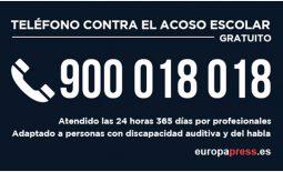 Teléfono gratuito contra el acoso escolar: 900 018 018